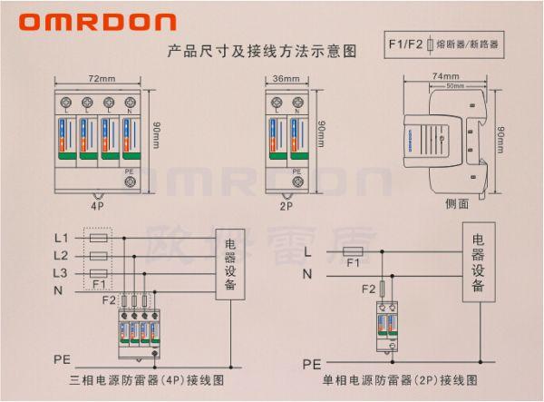产品介绍: 欧姆雷盾(OMRDON)二级电涌保护器(Surge Protection Device,简称SPD)(又称电源防雷器、电源避雷器、浪涌保护器、过压保护器),适用于交流380V(50Hz/60Hz)及以下的TN-S、TN-C-S、TT、IT等供电系统因雷击而产生的雷击电磁脉冲(LEMP)保护,用于雷击区域的LPZ1区与LPZ2区交界处,其设计依据符合GB18802.